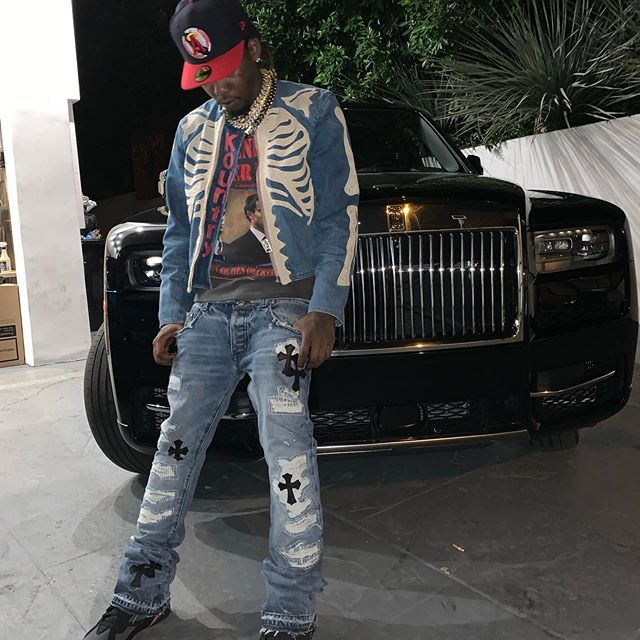 SPOTTED: Offset dons Chrome Hearts & Air Jordans on Rolls Royce