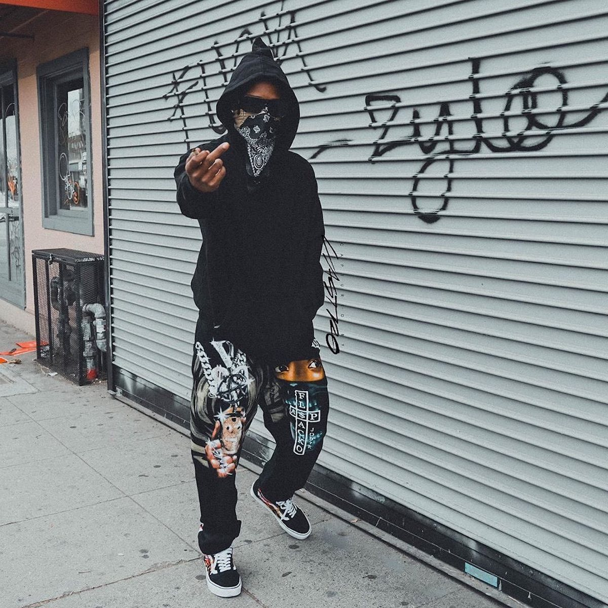 SPOTTED: A$AP Rocky in his own Vlone Merch & Vans