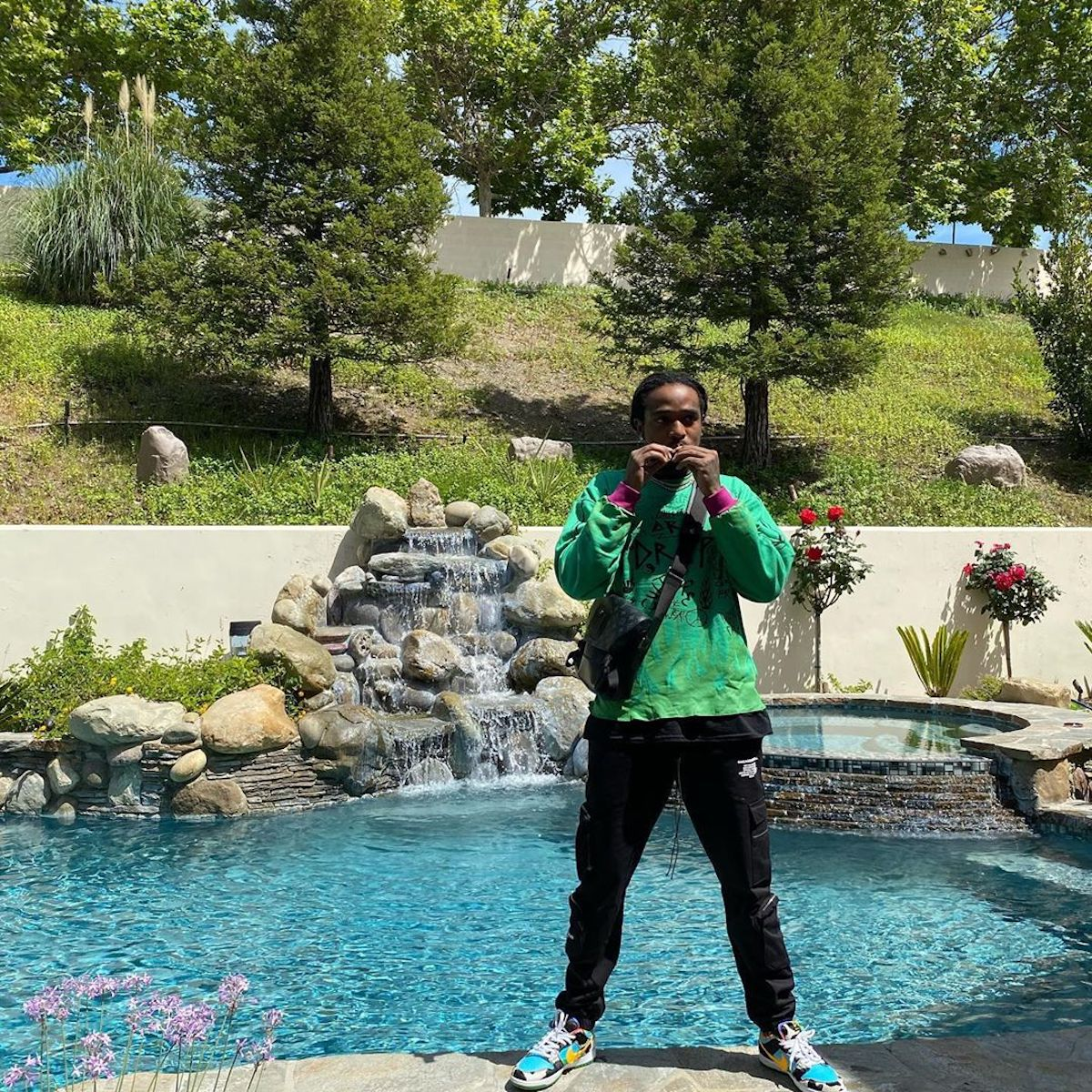 SPOTTED: Quavo Huncho Poolside in Louis Vuitton & Nike 'Chunky Dunky' Trainers