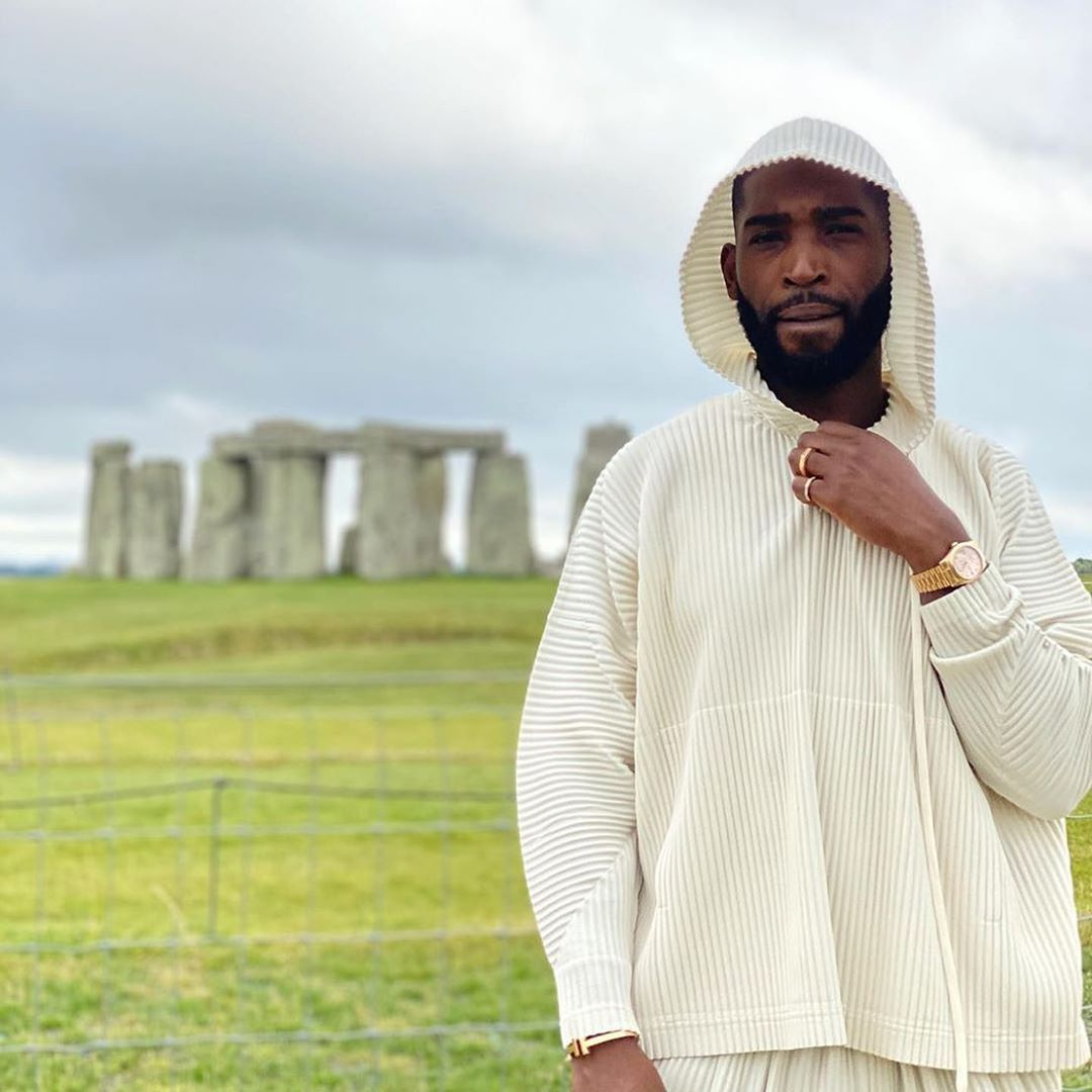 SPOTTED: Tinie Tempeh visits Stonehenge in Homme Plissé Issey Miyake