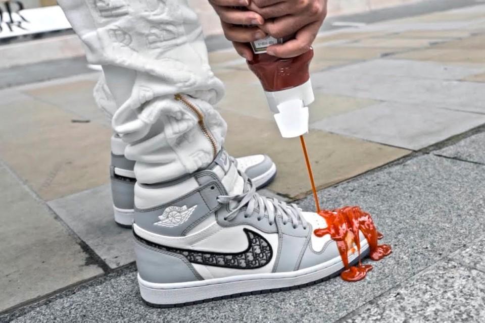 Watch the Dior X Nike Air Jordan get Sprayed with Ketchup