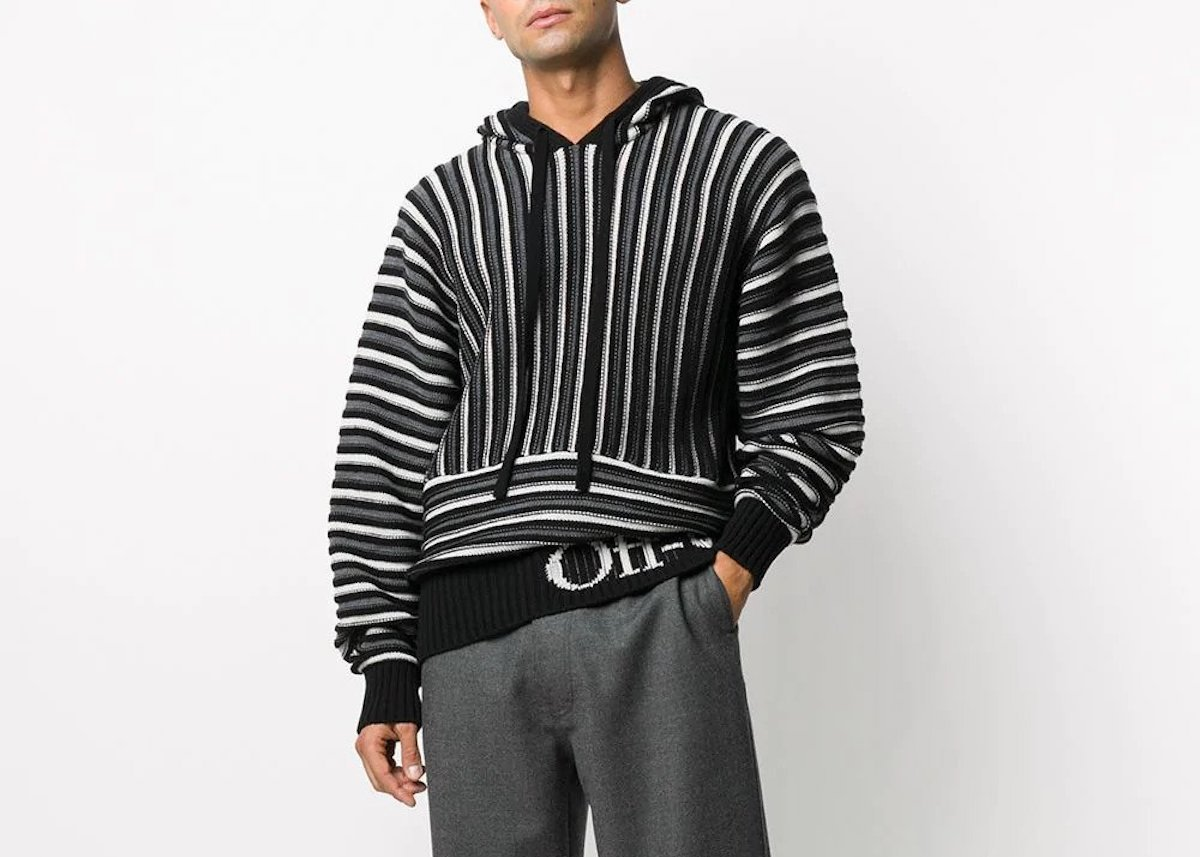 PAUSE or Skip: Off-White Striped Knit Hoodie