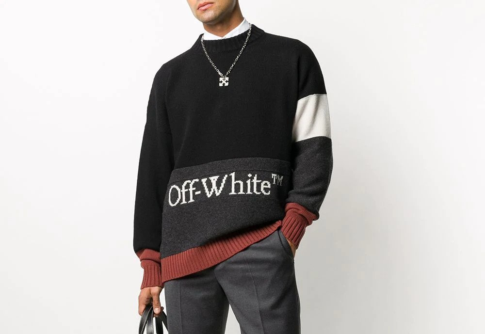 PAUSE or Skip: Off-White Colour Block Knitted Jumper