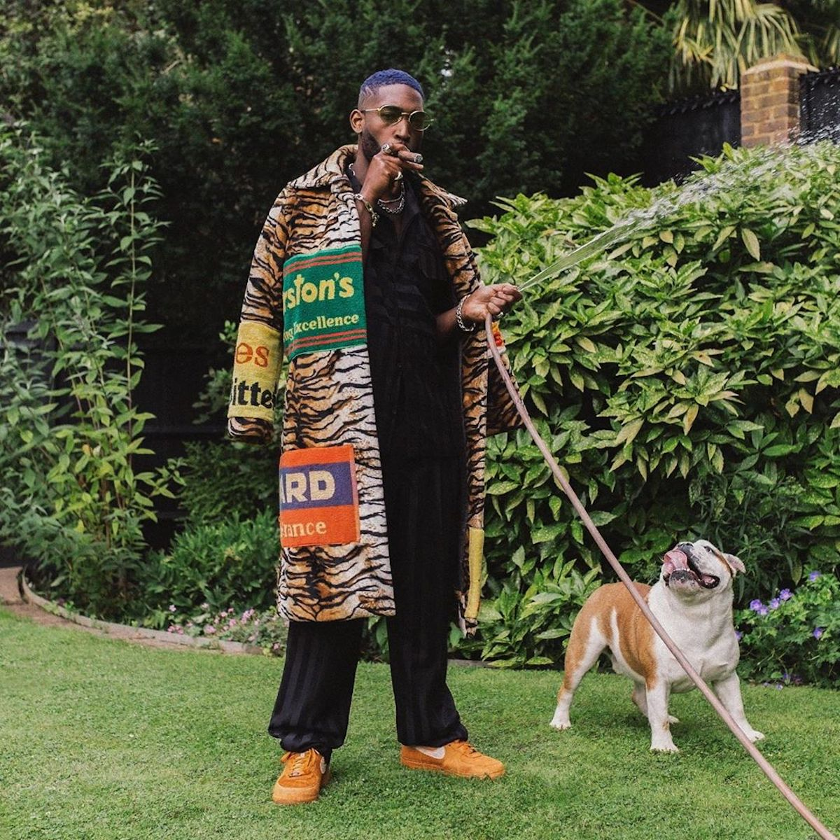 SPOTTED: Tinie Tempah takes to the Garden in Tiger-Print Adam Jones Coat