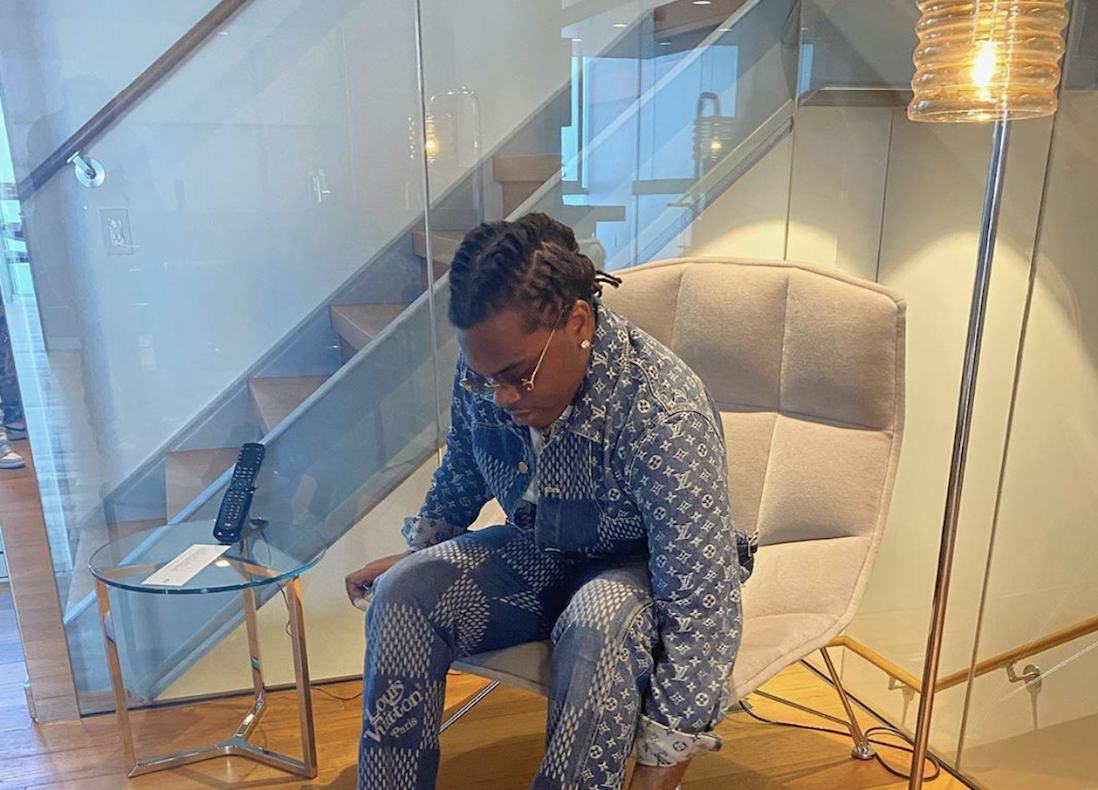 SPOTTED: Gunna Flexes for the Gram' in Louis Vuitton x Nigo Double Denim Fit