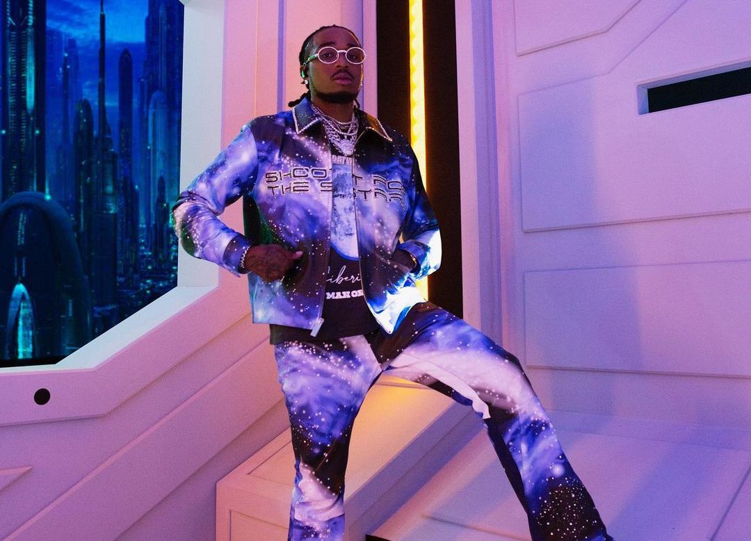 SPOTTED: Quavo Huncho Dons Air Dior & Galaxy Print Tracksuit