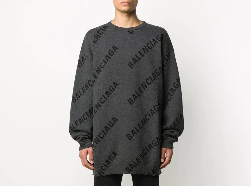 PAUSE or Skip: Balenciaga All-Over Logo Print Knit