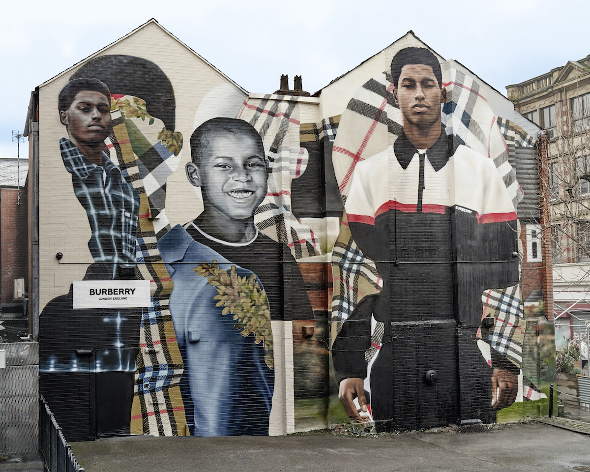 Burberry Unveil Mural dedicated to Marcus Rashford in Manchester