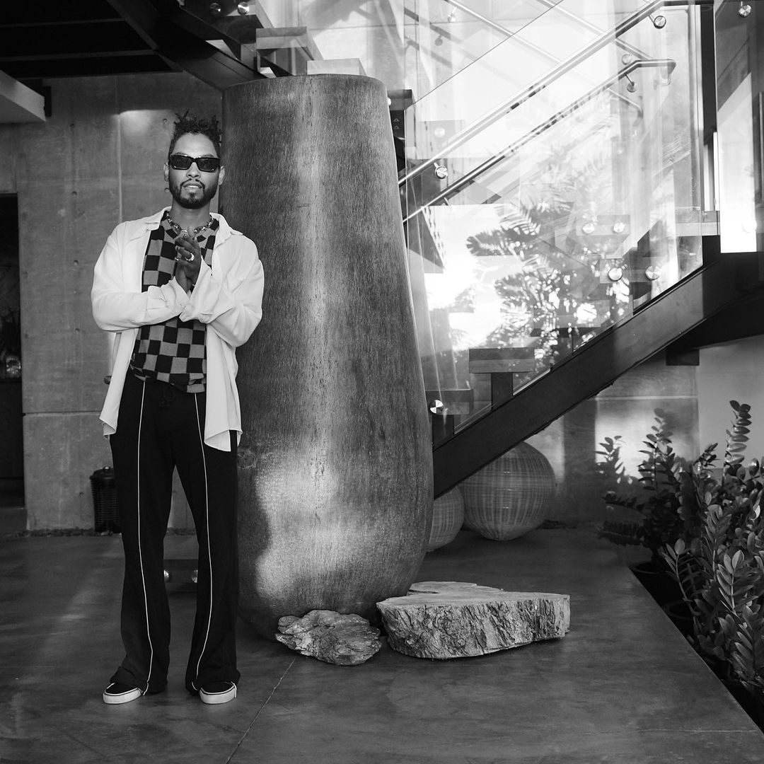SPOTTED: Miguel Shares Monochrome Checkerboard Ensemble