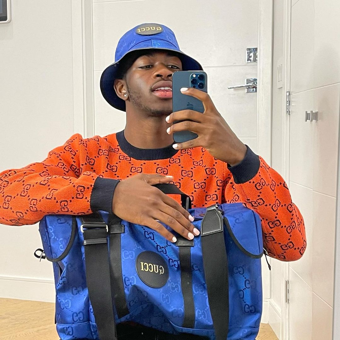SPOTTED: Lil Nas X in Orange & Blue Gucci Getup