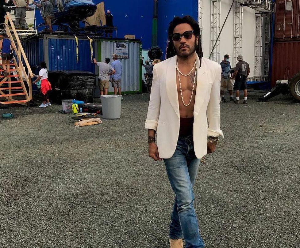SPOTTED: Lenny Kravitz on set in Saint Laurent