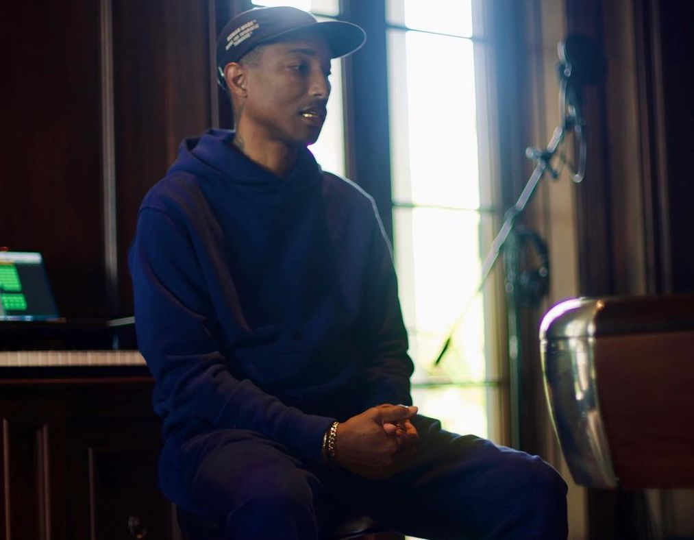 SPOTTED: Pharrell Williams keeps it cool in All-Blue adidas Originals