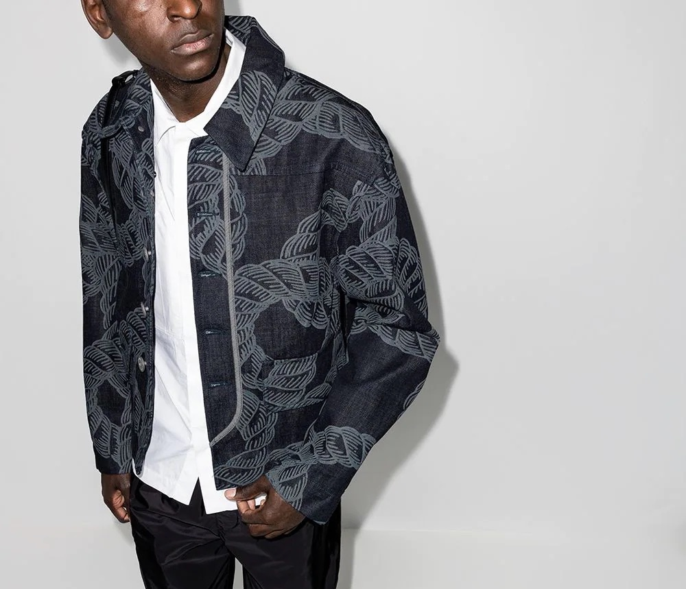 PAUSE or Skip: Pronounce Rope Print Denim Jacket