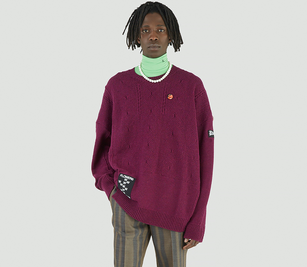 PAUSE or Skip: Raf Simons Logo-Patch Braid Sweater in Purple