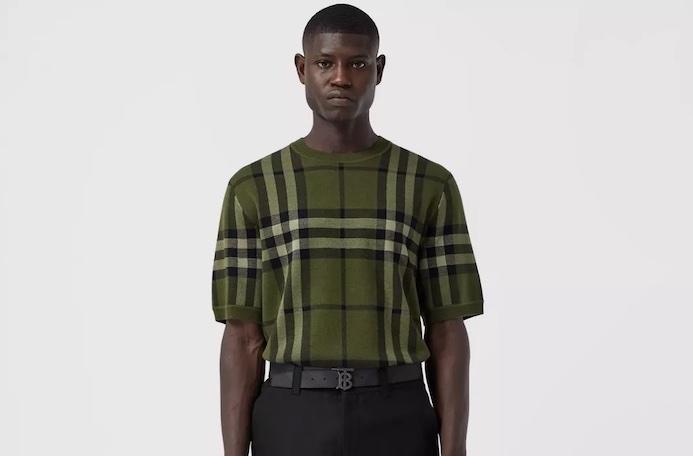 PAUSE or Skip: Short-sleeve Check Silk Wool Jacquard Top