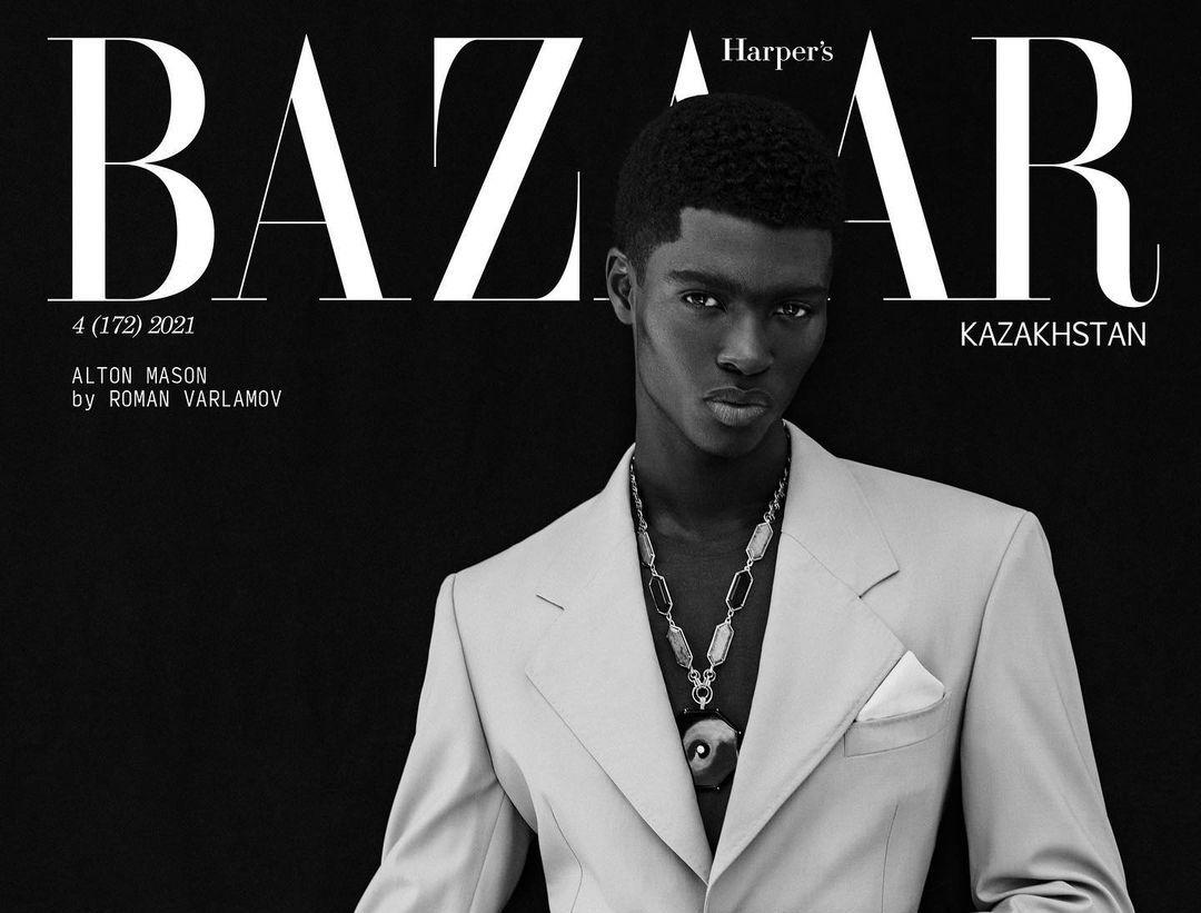 SPOTTED: Alton Mason covers Harper's Bazaar Kazakhstan in Versace