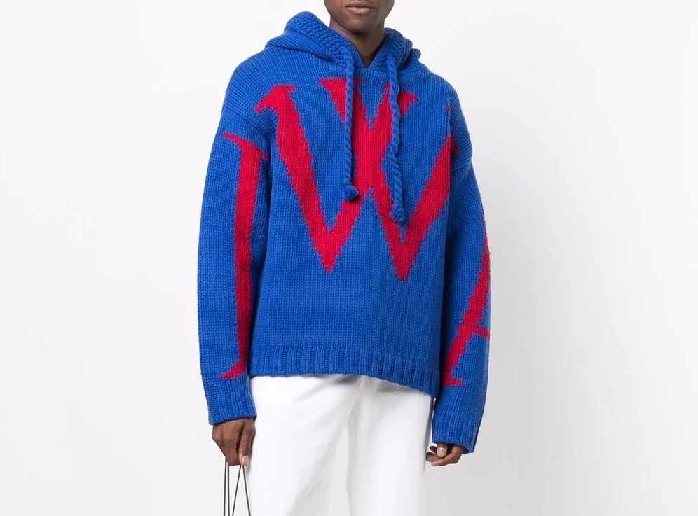 PAUSE or Skip: JW Anderson Logo-Intarsia Knitted Hoodie