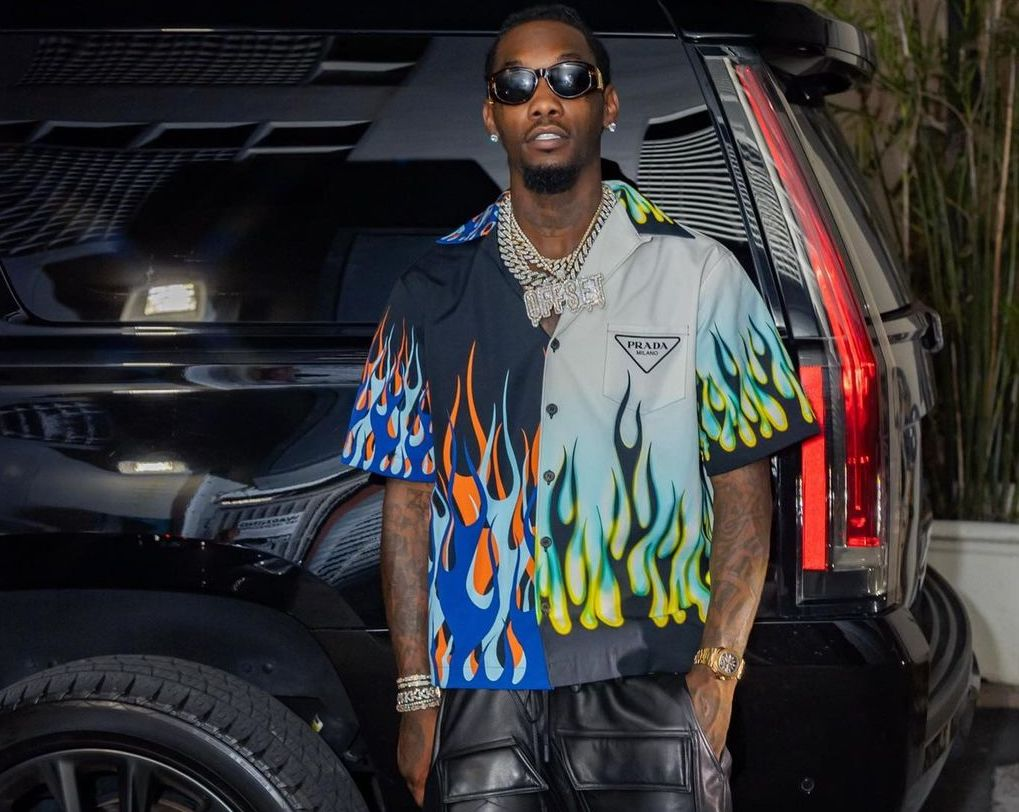 SPOTTED: Offset Serves up Printed Prada & Leather Look