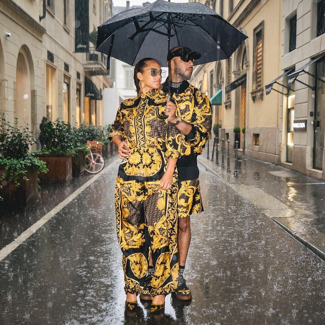 SPOTTED: Swizz Beatz & Alicia Keys don Fendi x Versace to Milan Fashion Week